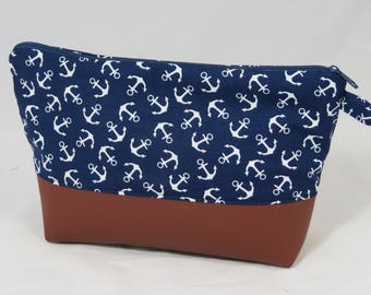 DIY-sewing cosmetic bag leather/cotton anchors (set 4)