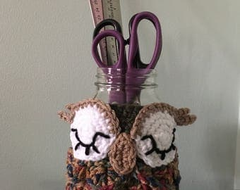 Crocheted Owl Mug/Jar Cozy