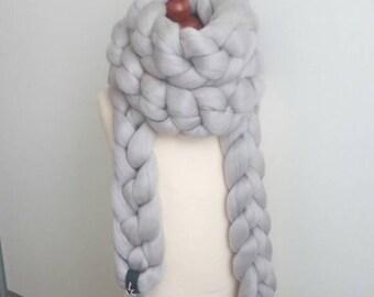 giant super chunky merino wool scarf, arm knitted scarf, arm knitting, , oversize scarf, bulky scarf,  giant woll scarf, super chunky