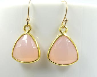 Pink Chalcedony earrings,  Summer outdoors hoop earrings Chalcedony Dangle Bridesmaids earrings Wedding jewelry Chalcedony trillion earwire