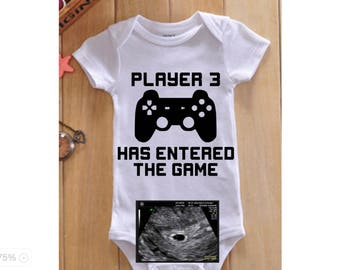 Player 3 Has Entered The Game Pregnancy announcement onesie, Gamer pregnancy announcement