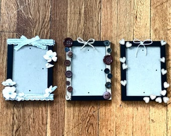 Rustic-theme picture frames, set of 3, 4x6in / 5x7in (12.7x17.7cm)