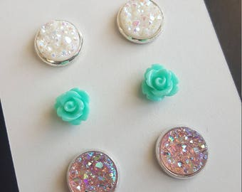 White and pastel pink faux druzy earring set