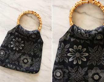 Vintage Denim Sunflower Handbag with Bamboo Handles