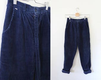 Vintage Navy Corduroy Trousers // Straight Leg High Waisted Cords