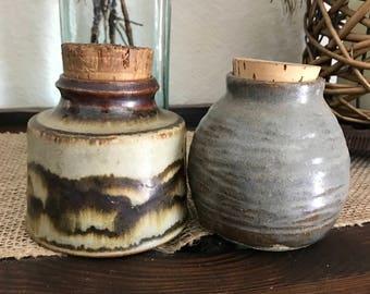 Vintage Set of 2 pottery jars, with cork lids