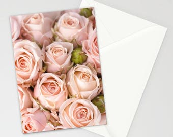 Blush Pink Roses Stationary Set, Pink Flowers Stationary, Pink Floral Thank You Cards, Pink Stationary Cards, Pink Floral Stationary Cards