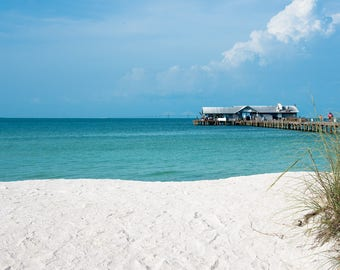 Florida Beach with Pier Background Digital Background