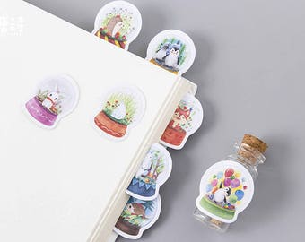 45Pcs/Box Cute Animal Crystal Ball Mini Paper - Decoration Stickers - Diy - Diary Scrapbooking - Seal Sticker - Stationery - cute stickers