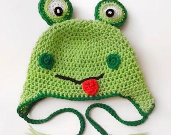 Toddler's Crochet Frog Earflap Hat