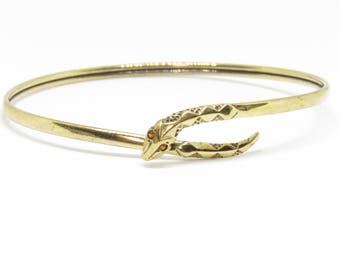 Vintage 9ct Yellow Gold Snake Flexible Wraparound Bangle with Garnet Eyes