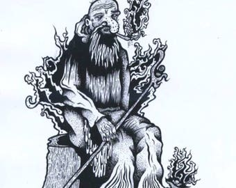 The Wizard - an Indian ink illustration inspired by Lord of the Rings