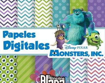 "12 Digital Papers 12 ""Monster Inc. 300 DPI"