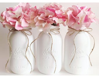 White Mason Jars, White Centerpieces, Neautral Baby Shower Decorations, Babyshower Decor