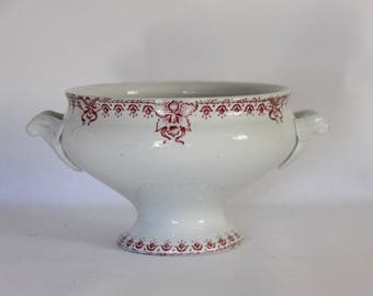 Antique French White Ironstone Bowl, Shabby Chic Earthenware Tureen, Red Transferware, Primitive Farmhouse Kitchen, Jeanne D'arc Living
