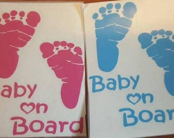 Baby on board - baby on board decal - car decal - baby feet decal - baby decal