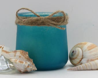 Pure Beeswax, Natural Cotton Wick,  5 oz Container Candle, Hand Painted Sea Glass Colors, Re-Purposed Container,