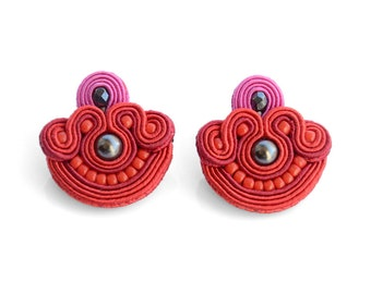 Red stud earrings red pink studs handmade earrings unique gift for woman soutache earrings red fabric earrings with beads author jewellery
