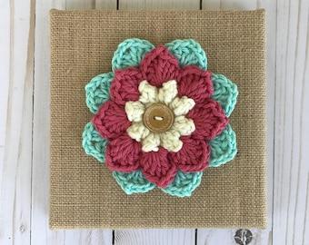 Boho decor / Crochet flower art / Farmhouse wall decor / Nursery decor / Crochet wall art / Flower wall art / Crochet home decor / Burlap