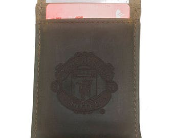 MANCHESTER UNITED F.C. Handcrafted Credit Card Holder Genuine Leather Oyster ID Holder Personal Mu Laser Engraving