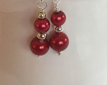 Cranberry red earrings. Red cranberry earrings. Red dangle earrings. Red drop earrings.