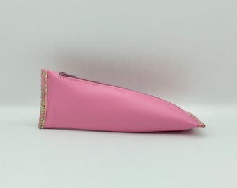 Pink cherry leather pouch