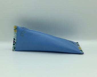 Cherry leather blue clutch