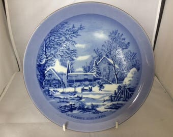 Currier and Ives blue and white collectors plate , The Farmers Home Winter , fine bone china , porcelain , wall decoration , village scene