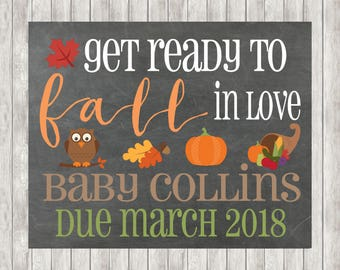 Digital Fall Pregnancy Announcement | Autumn | Pumpkin | Baby | Babies | Love | Owl | Leaves | Pregnant