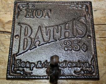 Cast Iron HOT BATHS 25 CENTS Towel Coat Hooks Hat Hook Key Rack Victorian Style