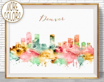 Denver Art Denver Colorado Denver Skyline Denver Print Office Decor Office Art Watercolor Skyline Watercolor City Print ArtPrintZone