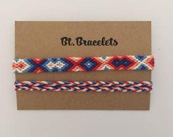 Friendship bracelets 3.00 straps blue/red