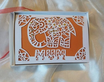 Personalised Birthday / Greeting card - Jewelled Elephant - Papercut Design - A5 - Luxury Boxed Item - Mum, Nan, Aunt, Name etc. Any Colour.