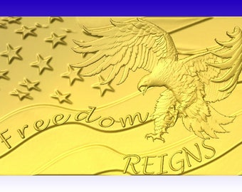 Freedom Reigns Eagle Plaque CNC Vector Art in stl file format for cnc routers or 3d sign carving