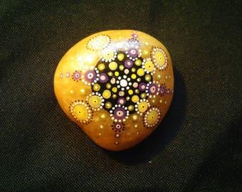 Purple yellow mandala painted stone magnet