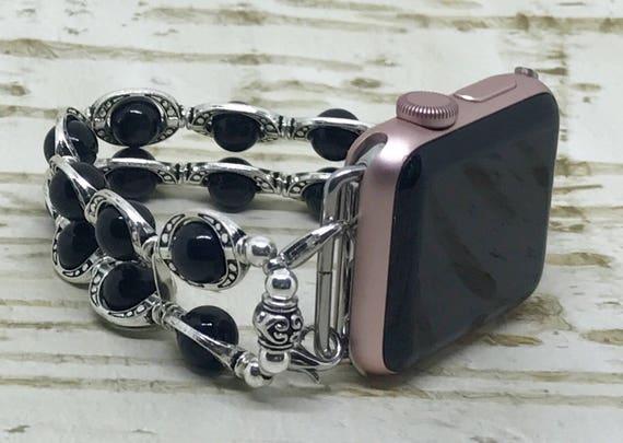 Apple Watch Band, Women Bead Bracelet Watch Band, iWatch Strap, Apple Watch 38mm, Apple Watch 42mm, Black Cats Eye Beads Silver Circles 7""
