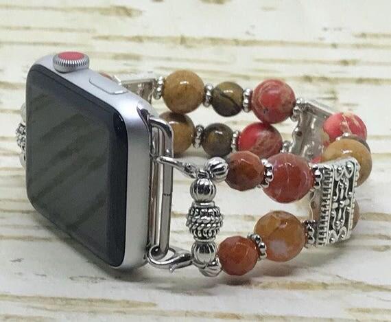 """Apple Watch Band, Women Bead Bracelet Watch Band, iWatch Strap, Apple Watch 38mm, Apple Watch 42mm, Orange Brown Beads, Silver Size 8-8 1/4"""""""