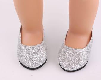 "Silver Glitter Slipper Shoes for 18"" Doll like American Girl  (#SGS)"