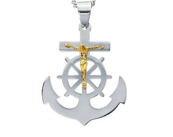 "Mens Silver-Tone Anchor with Gold-Tone Crucifix Jesus in Stainless Steel, 18""-24"""