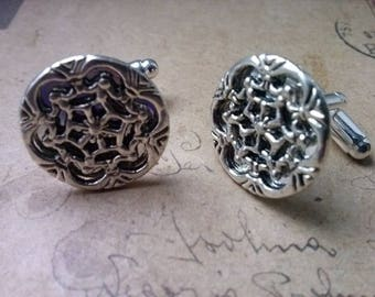 Round filigree cufflinks