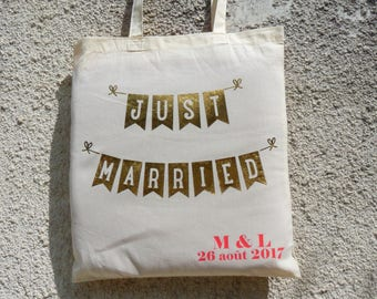 "bag totebag ""Just Married"" - wedding bag - bag married - bachelorette party"