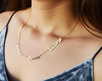 Personalized Name Necklace, Family Name Necklace, four Name Necklace, Custom Name Necklace, Sterling Silver 925k, Rose Gold, Gold Filled