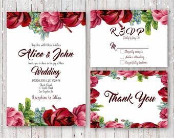 Vintage Roses Digital Wedding Invitation Set