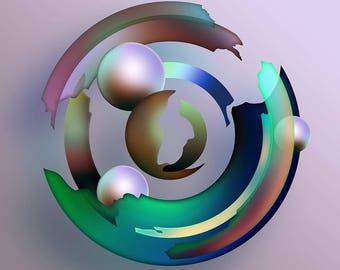 Abstract Circles 2 - giclée, prints, wall art, fine art, artwork, art, picture, green, purple, pink, home decor, pearls