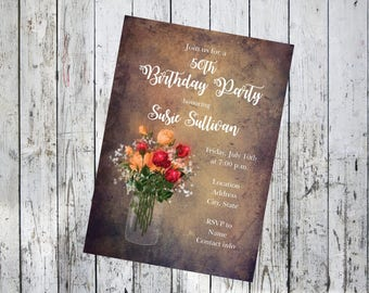 Rustic Birthday Invitation with Flowers