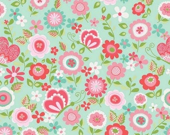 14 Yards in Stock - Riley Blake - Butterflies & Berries - Butterflies Main on Mint by RBD Designs - 100% Cotton