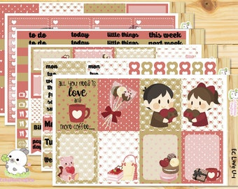 Love U / Valentine's day Weekly Full Kit/ Planner Stickers for Use with Erin Condren Vertical Planner/ CLASSIC Happy Planner