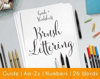 Brush Lettering | 27 Pratice Sheets | guide for Beginners | Printable | Modern Hand Lettering workbook | Learn Calligraphy | Worksheets | B3