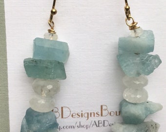 Aquamarine and moonstone earrings