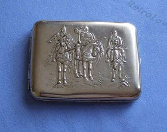 Soviet Cigarette Case Three heroes. Tobacco box USSR. Vintage cigarette holder, 3 heroes